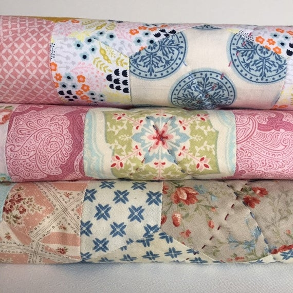 Cool handmade quilts hand quilted hexie quilt vintage style shab chic style french country style country cottage homemade quilts 11 Interesting Vintage Inspired Quilts Inspirations