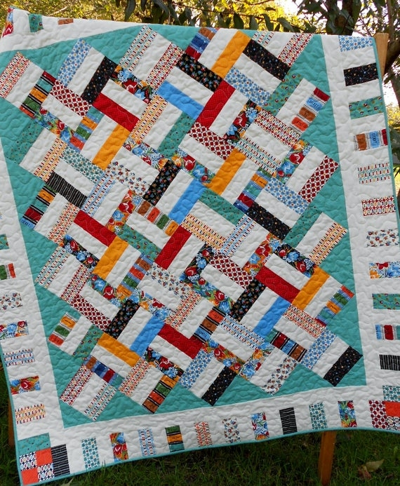Cool jelly roll quilt pattern pickup sticks ba and throw sizes quick easy pdf instant download 11 Stylish Jelly Roll Quilt Patterns Easy Gallery