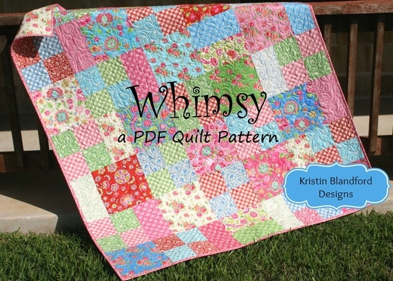 Cool layer cake quilt pattern whimsy moda ba quilt and throw simple fast easy beginner quilt pattern ten inch squares precuts pdf file 10 Elegant Moda Layer Cake Quilt Patterns