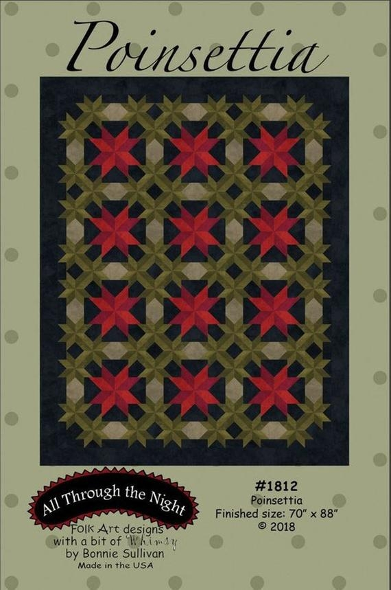 Cool poinsettia quilt pattern a flannel woolies quilt pattern 1812 bonnie sullivan all through the night 11 Stylish Poinsettia Quilt Pattern Inspirations