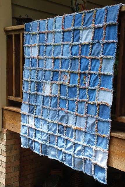 Cool quilt for japan finished and sent denim rag quilt rag Elegant Easy Denim Quilt Patterns