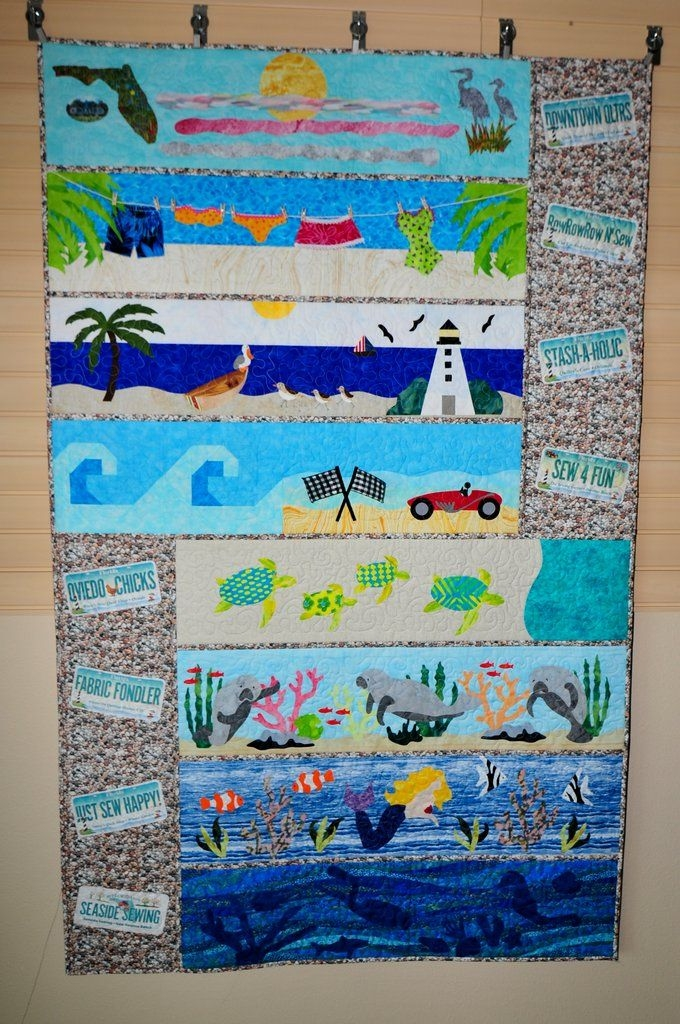 Cool row row qith and silhouette cameo beach themed quilts 11 Stylish Silhouette Quilt Patterns Inspirations