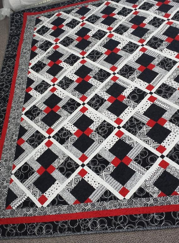 Cool twin size quilt pattern red black and white quilt disappearing 9 patch quilt pattern 10 New Black And White Quilts Patterns Gallery