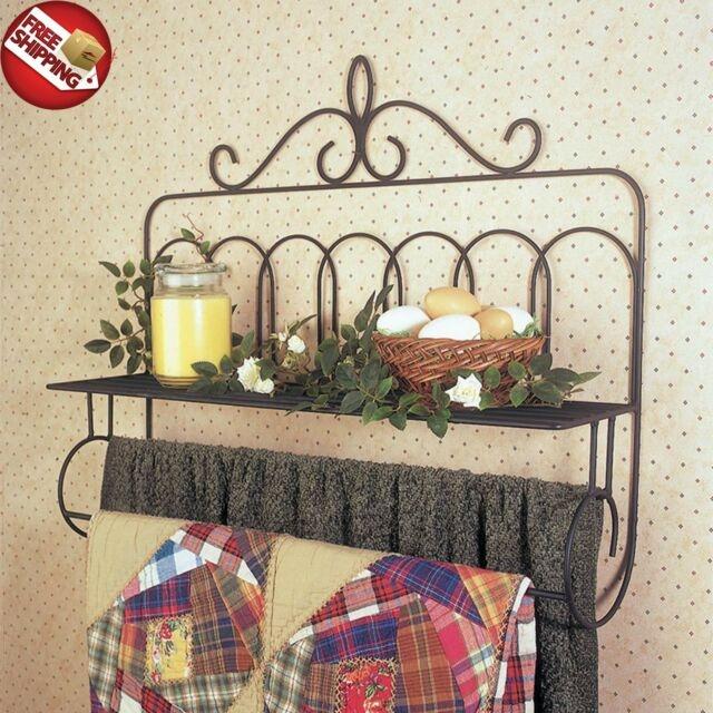 Cool vintage quilt rack hanger towel holder shelf wall mounted stand blanket iron Elegant Vintage Quilt Rack