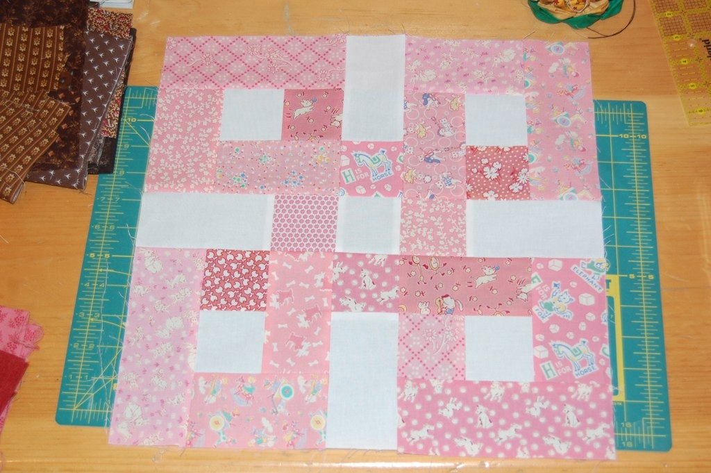 Cool waste knot block pink julie bridgeman flickr Unique Waste Knot Quilt Pattern Gallery