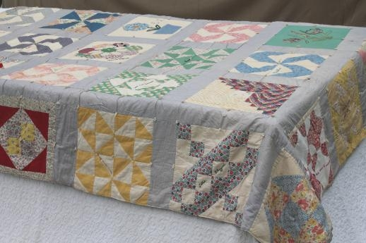Cozy 1930s vintage friendship quilt w embroidered patchwork 10 New Vintage Friendship Quilt