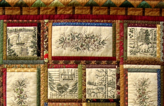 Cozy among the pines quilt pattern 10 hand embroidery blocks 10 Cool Hand Embroidery Quilt Patterns
