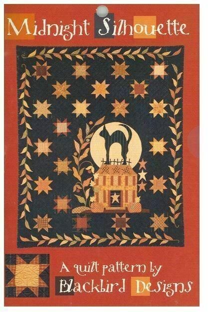 Cozy blackbird designs midnight silhouette halloween fall cat quilt pattern 11 Stylish Silhouette Quilt Patterns Inspirations