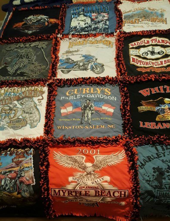Cozy harley davidson ragged t shirt quilt one of a kind 10 Elegant Harley Davidson Quilt Patterns Inspirations