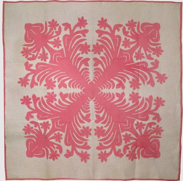 Cozy hawaiian applique vintage quilt pink and white 11 New Hawaiian Applique Quilt Patterns