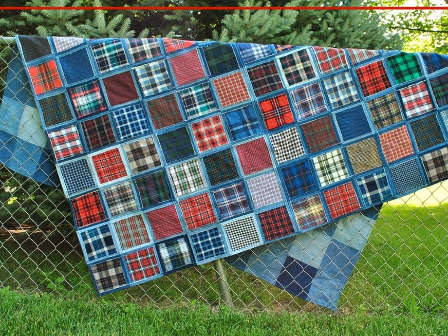 Cozy make a gorgeous denim quilt from blue jeans Elegant Easy Denim Quilt Patterns