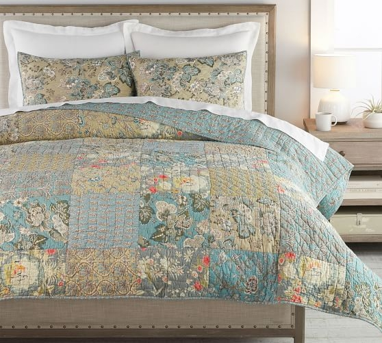 Cozy neena patchwork cotton quilt shams Modern Pottery Barn Quilts Gallery