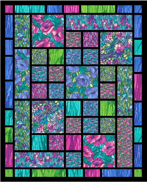 Cozy quilt inspiration free pattern day stained glass quilts 11   Stained Glass Window Quilt Pattern Gallery