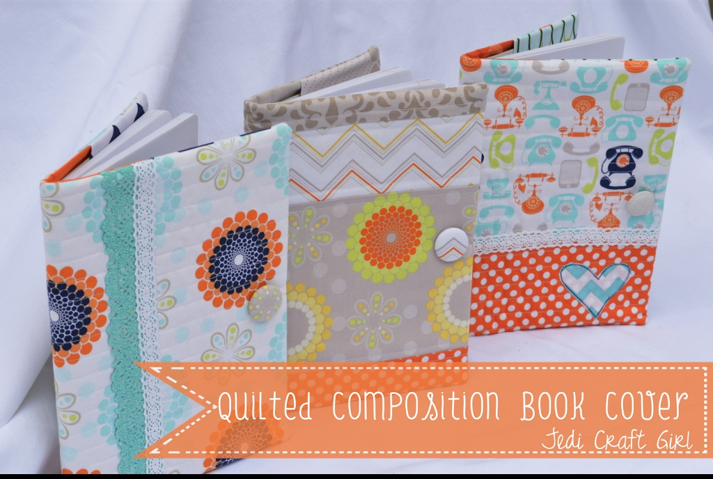 Cozy quilted composition book cover 10 Modern Quilted Book Cover Pattern