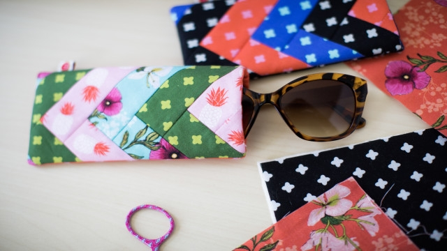 Cozy quilted sunglasses case ba lock Modern Quilted Eyeglass Case Pattern