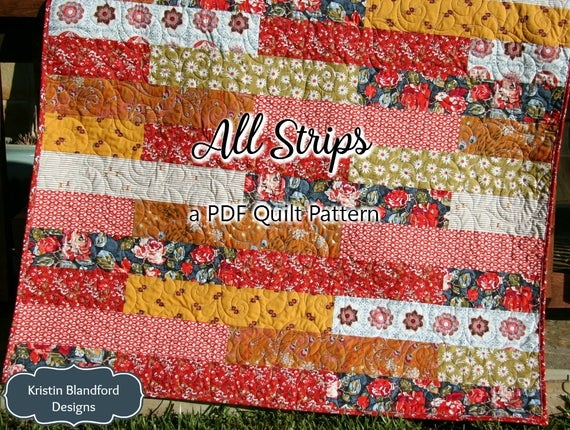 Cozy strip quilt pattern all strips fat quarters striped easy simple quick throw twin size striped quilting sewing pdf instand upload Interesting Easy Strip Quilt Patterns Gallery