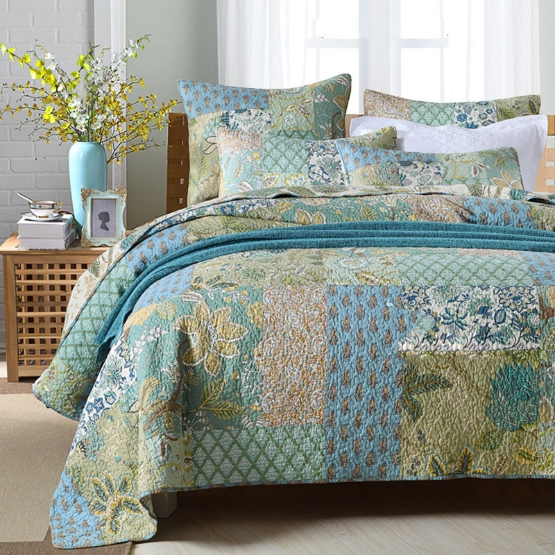 Cozy us 10873 32 offchausub bedspreads patchwork quilt set 3pcs cotton quilts for bed vintage quilted bed cover pillowcase king handmade coverletquilt 9 New Vintage Quilt Cover Gallery