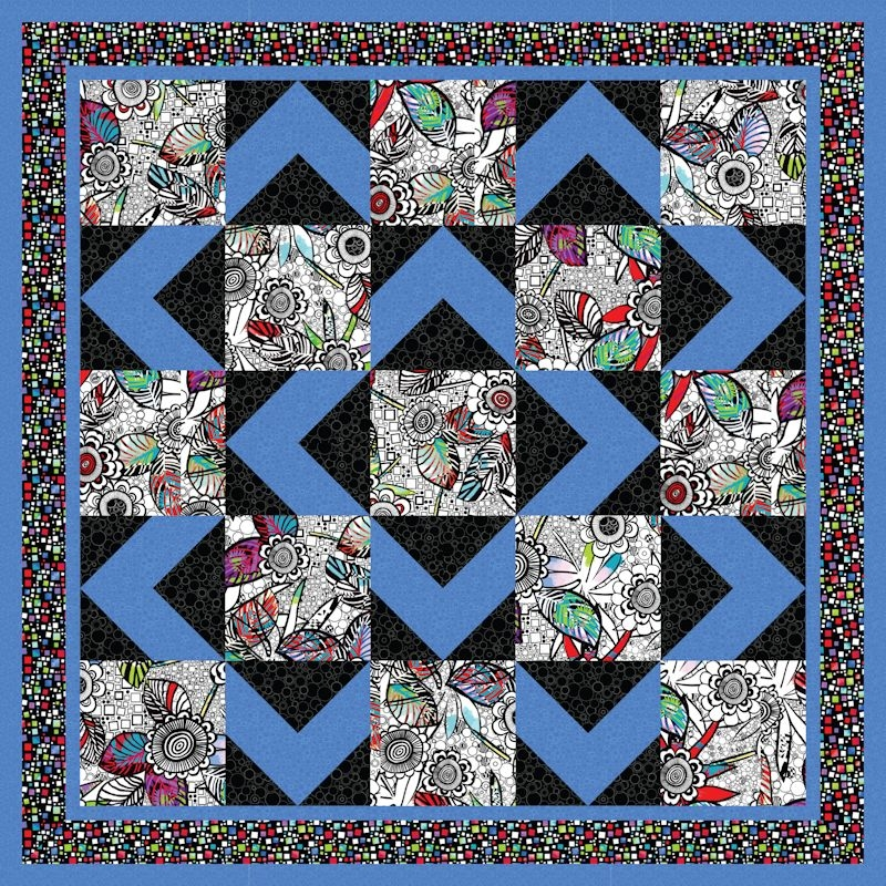 Cozy walk about Large Print Fabric Quilt Patterns