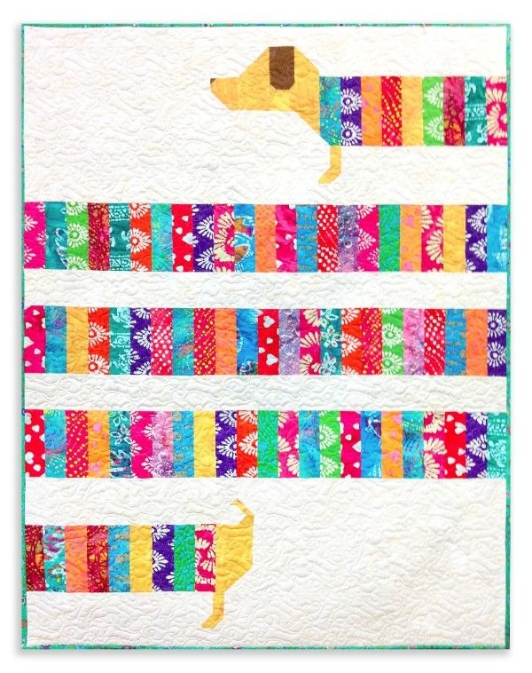 Cozy wiener dog quilt all wrapped up video bundle dog 11 Cool Fresh Dog Themed Quilting Fabric Inspiration