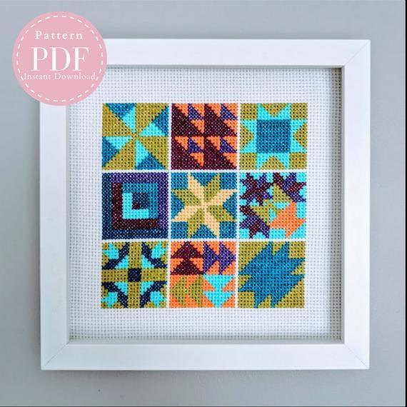 cross stitch pattern modern quilt block 9 Unique Cross Stitch Quilt Block Patterns Gallery
