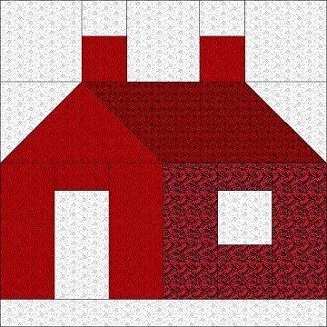 Elegant apr02blk 360360 pixels house quilt block house 11 Elegant Schoolhouse Quilt Block Pattern Gallery