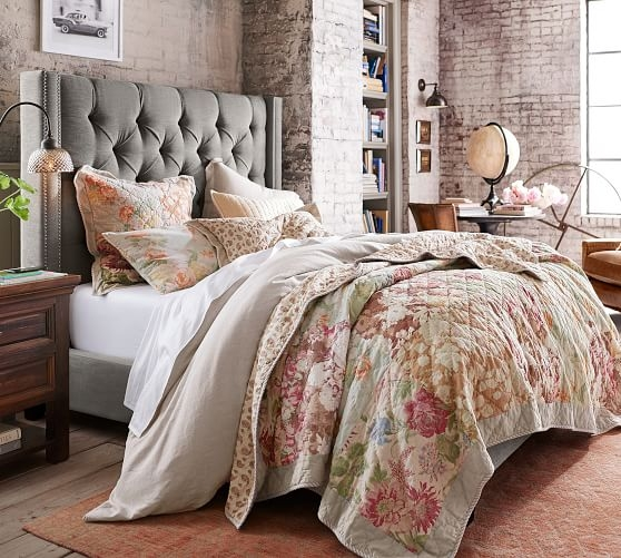 Elegant carolina floral patchwork reversible cotton quilt shams Modern Pottery Barn Quilts Gallery