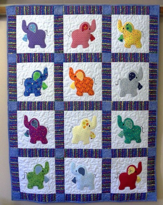 Elegant elephant treasures handmade quilt elephant quilt ba 10 Beautiful Quilting Fabric Elephant Print Ideas Gallery