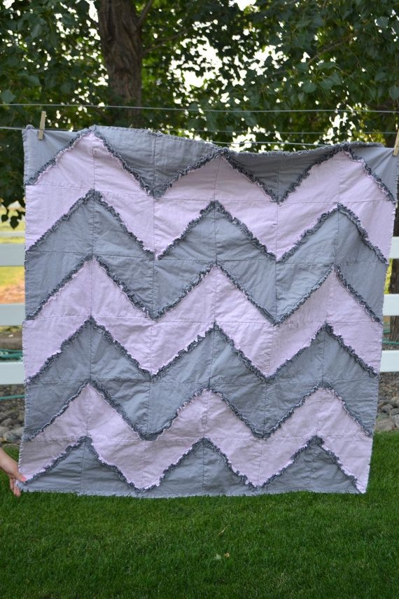 Elegant gray and pink chevron rag quilt toddler bedding ba 9 Cool Chevron Rag Quilt Pattern Inspirations
