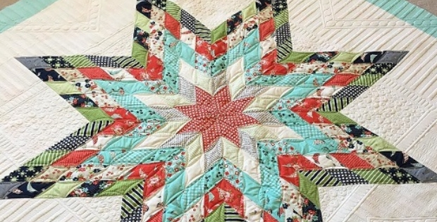 Elegant jelly strips lone star splash out on color quilting cub 10 Stylish Lone Star Patchwork Quilt Patterns