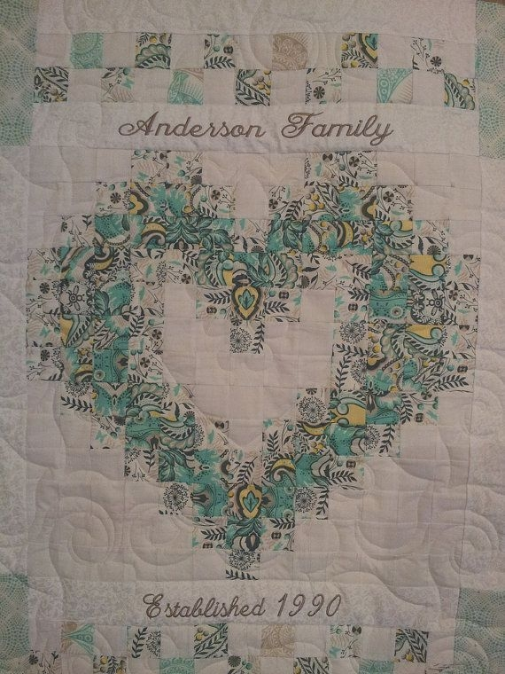 Elegant personalized family heart quilt etsy heart quilt pattern 11   Wedding Quilt Patterns