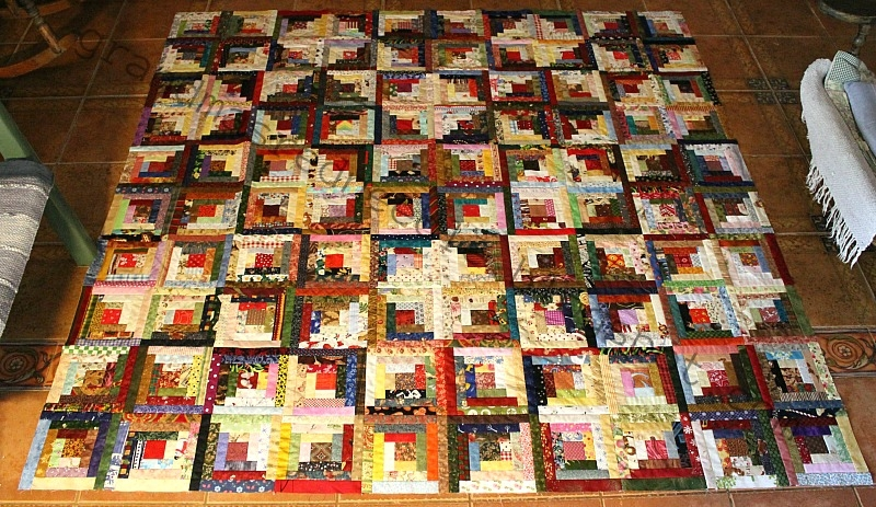 Elegant red needle quilts scrappy log cabin flimsy and tea cozy 9   Scrappy Log Cabin Quilt Pattern