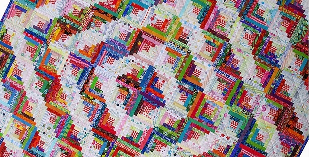 Elegant scrappy log cabin quilt tutorial quilting digest 9   Scrappy Log Cabin Quilt Pattern
