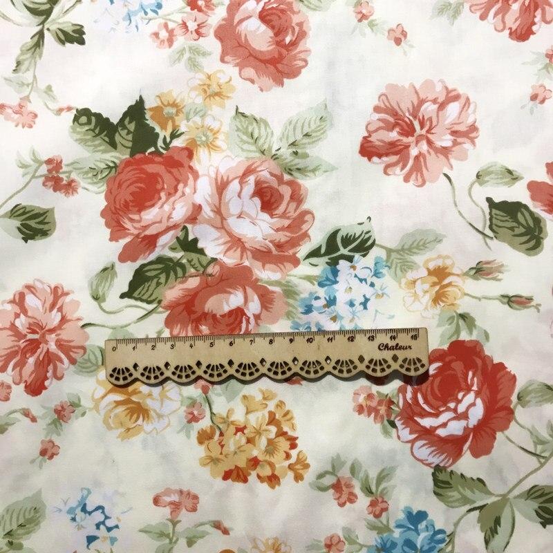 Elegant shab chic orange big peony printed 100 cotton fabric 11 Stylish Elegant Quilted Cotton Fabric