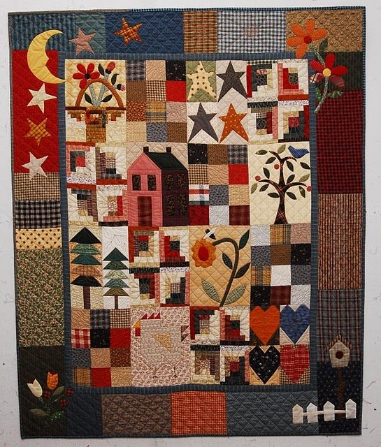 Elegant simple country sampler pattern the rabbit factory made Cozy Country Primitive Quilt Patterns Inspirations