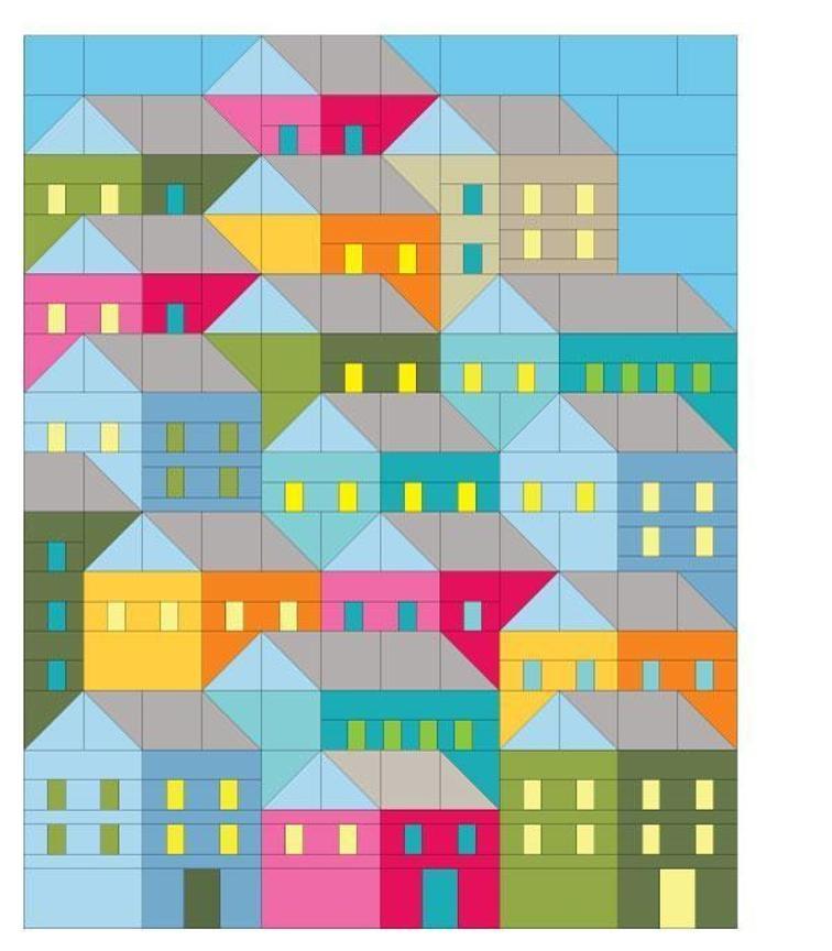 hillside houses quilt pattern bluprint 9 Beautiful House Quilt Pattern