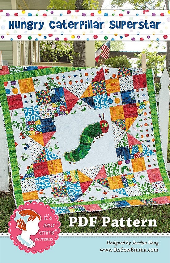 hungry caterpillar superstar downloadable pdf quilt pattern jocelyn ueng for its sew emma 11 Beautiful Very Hungry Caterpillar Quilt Pattern Gallery
