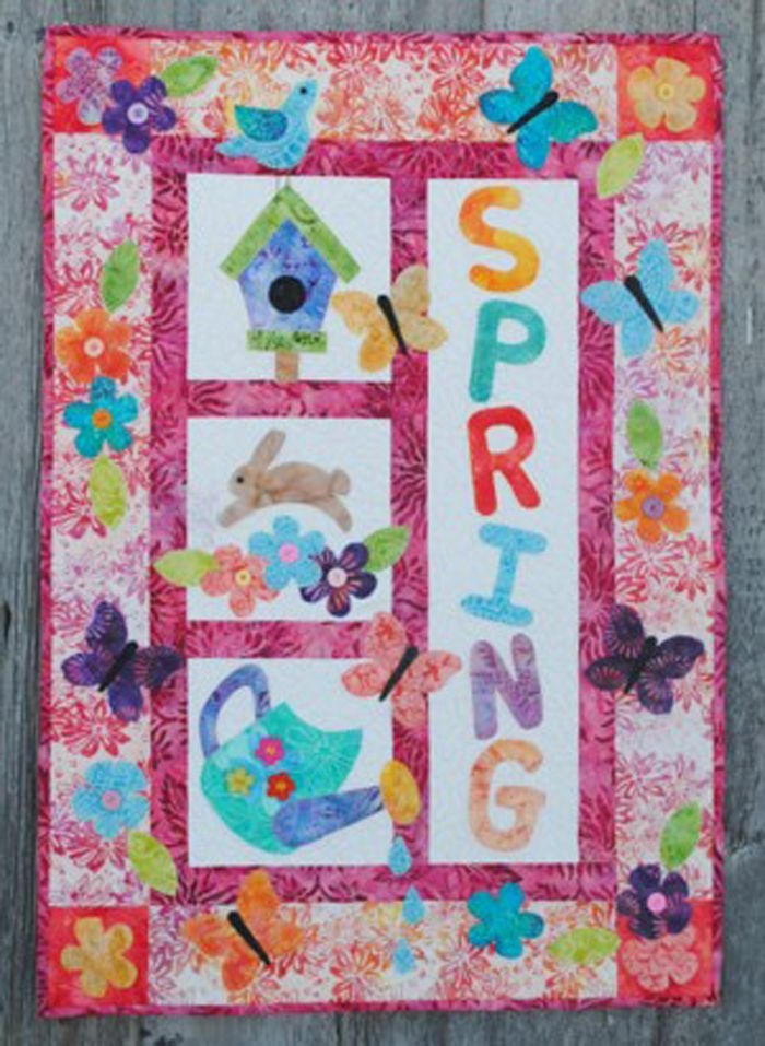 Interesting adorable applique wall hanging for spring its a spring 10   Quilt Patterns Wall Hangings Inspirations