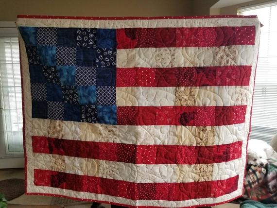 Interesting american flag handmade lap quilt 4th of july independence day lap quilt flag quilt made to order 10 New American Flag Quilt Patterns