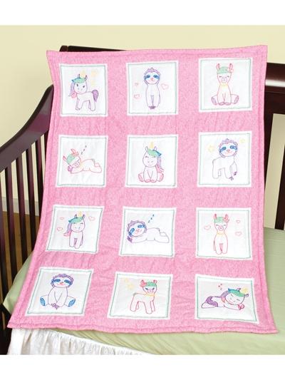 Interesting ba animals 9 prestamped nursery quilt blocks 12pkg 9 Modern Embroidered Quilt Patterns Inspirations