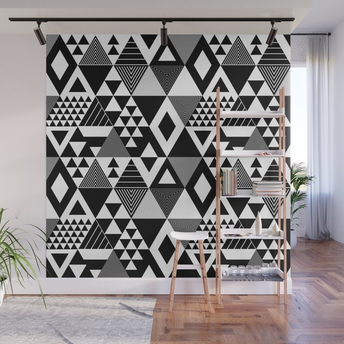 Interesting black white geometric quilt pattern wall mural meetaseth 9   Quilt Patterns Black And White Gallery