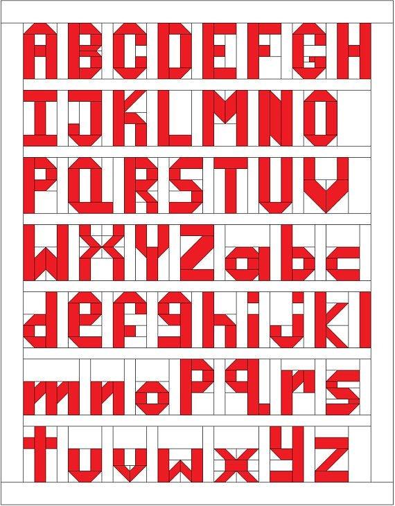 Modern alphabet quilt pattern traditional pieced patchwork 11 Interesting Alphabet Quilt Block Patterns Gallery