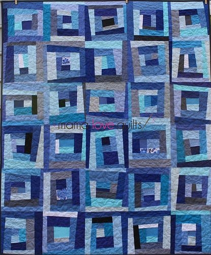 Modern blue daze finished monochromatic quilt log cabin quilt New Monochromatic Quilt Patterns Inspirations