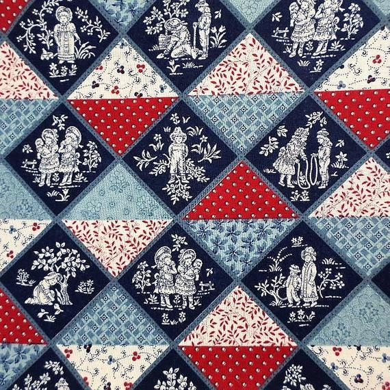 Modern cheater quilt fabric the yard cotton block fabric kesslers andover childrens toile red white blue oop fabric floral vintage 9 Beautiful Cheater Quilt Fabric Inspirations