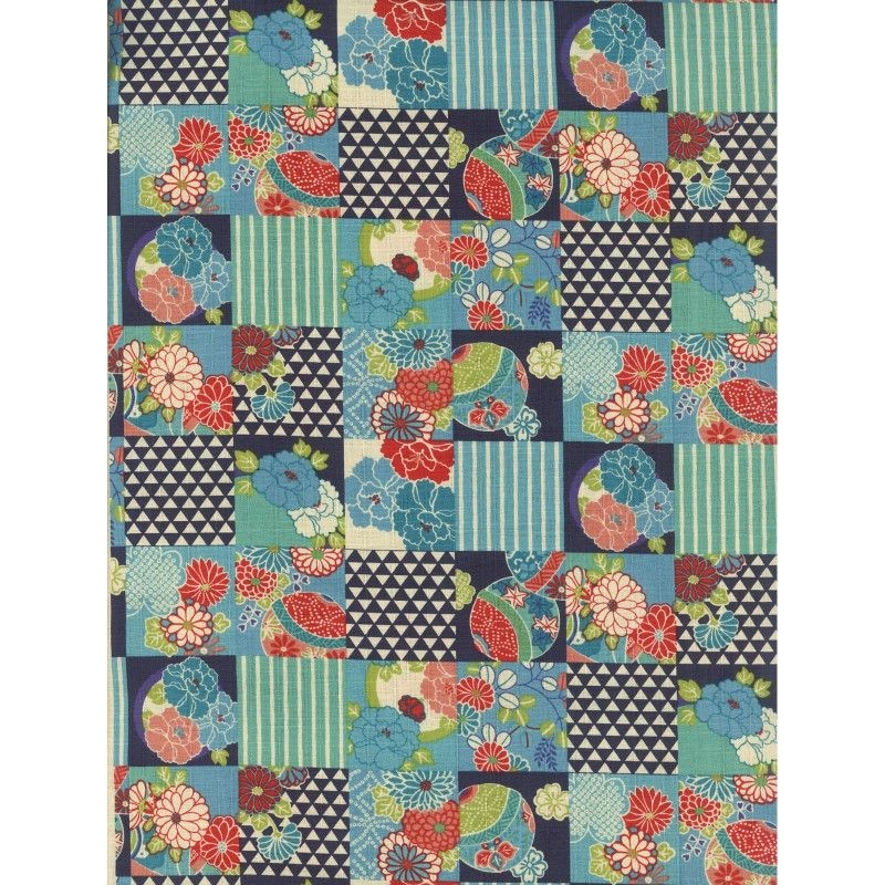 Modern patchwork japanese modern teal the half yard asian 9 Elegant Asian Quilt Fabric Gallery
