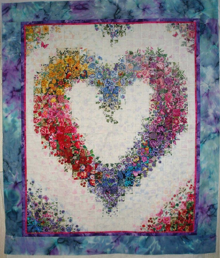 Modern quilt of the day watercolor quilt heart quilt pattern 10 Elegant Watercolor Quilt Patterns Inspirations