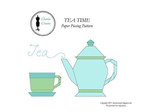 Modern tea time paper pieced pattern teapot and teacup paper 10 Beautiful Teapot And Teacup Patterns For Quilt Blocks