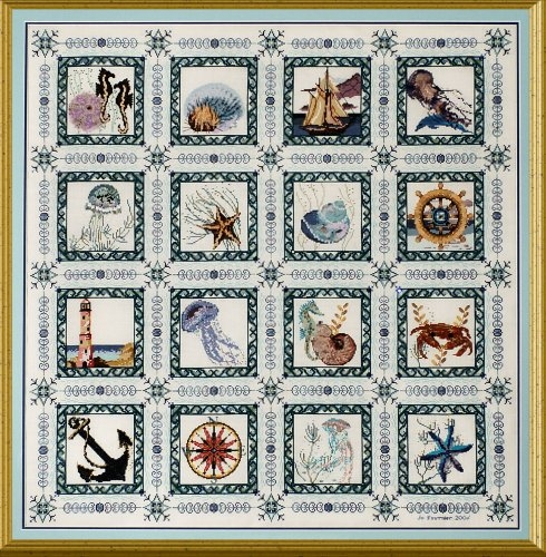 Modern the sea quilt counted cross stitch pattern New Quilt Cross Stitch Patterns Gallery