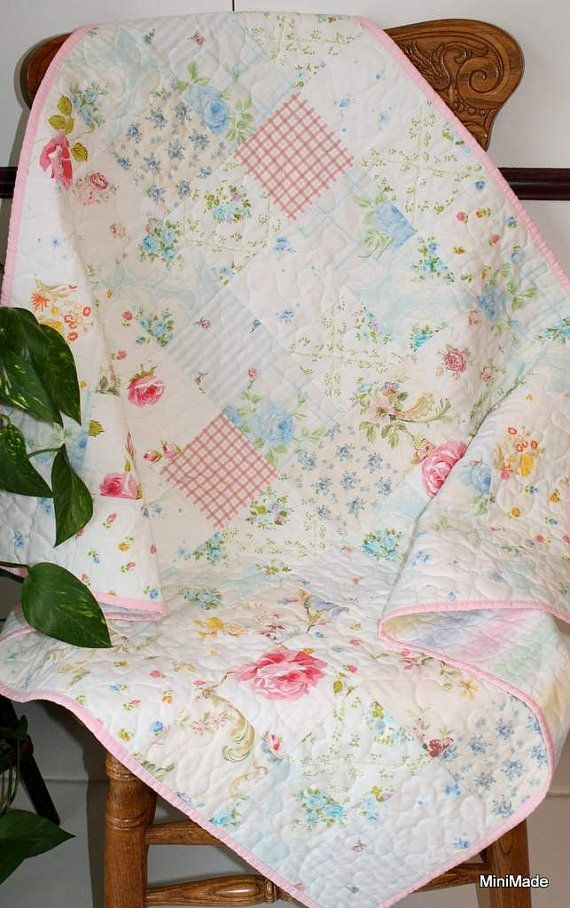 modern vintage ba or lap quilt pastel vintage sheets Cool Modern Vintage Quilts