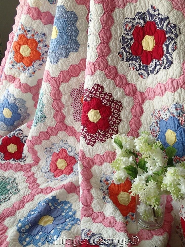 Modern vintage grandmothers flower garden quilt grandmothers 11 Elegant Grandmothers Flower Garden Quilt Pattern Gallery
