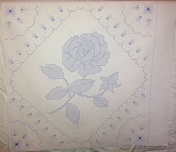 Modern vintage stamped embroidery quilt block with 10 Stylish Vintage Embroidered Quilt Blocks